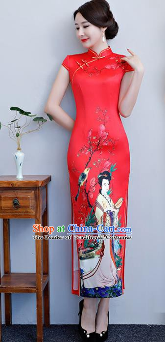 Chinese Traditional Tang Suit Printing Beauty Qipao Dress National Costume Red Silk Mandarin Cheongsam for Women