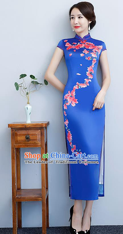 Chinese Traditional Tang Suit Printing Peach Blossom Qipao Dress National Costume Blue Silk Mandarin Cheongsam for Women