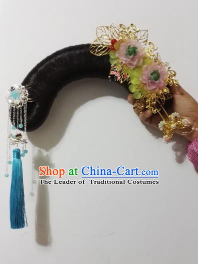 Traditional Chinese Ancient Manchu Princess Hair Accessories Wig and Hairpins for Women