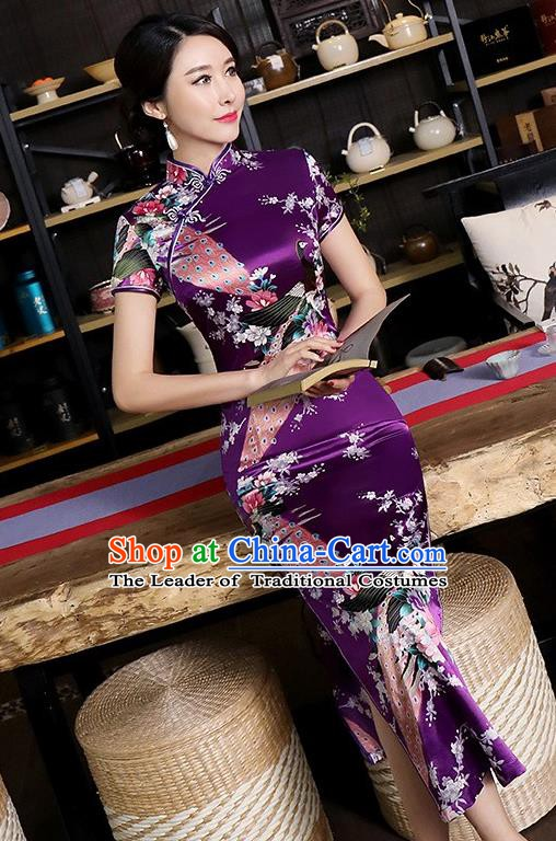 Chinese Traditional Printing Peacock Mandarin Qipao Dress National Costume Tang Suit Purple Cheongsam for Women