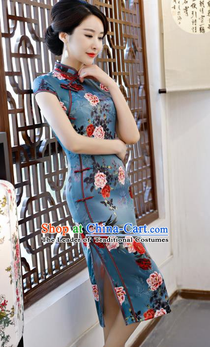 Chinese Traditional Printing Peony Blue Qipao Dress National Costume Tang Suit Mandarin Cheongsam for Women