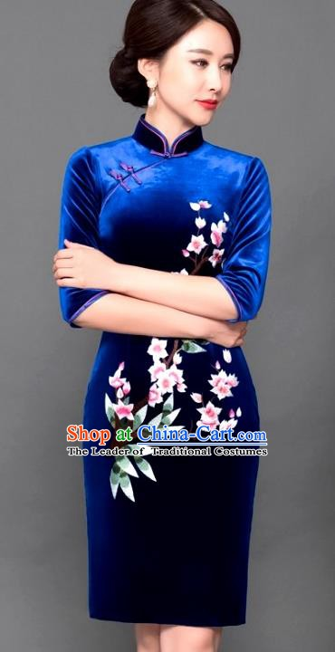 Chinese Traditional Tang Suit Qipao Dress National Costume Royalblue Pleuche Mandarin Cheongsam for Women