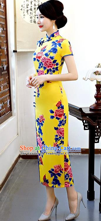 Chinese Traditional Tang Suit Yellow Silk Qipao Dress National Costume Printing Peony Mandarin Cheongsam for Women