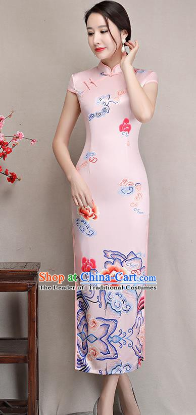 Chinese Traditional Tang Suit Qipao Dress National Costume Retro Wedding Pink Mandarin Cheongsam for Women