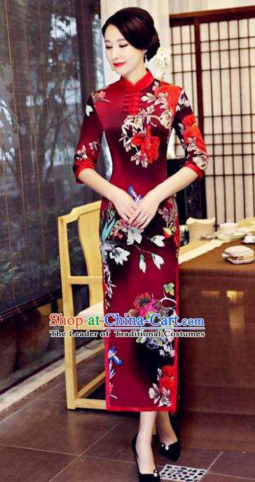 Chinese Traditional Tang Suit Printing Watered Gauze Qipao Dress National Costume Wine Red Mandarin Cheongsam for Women