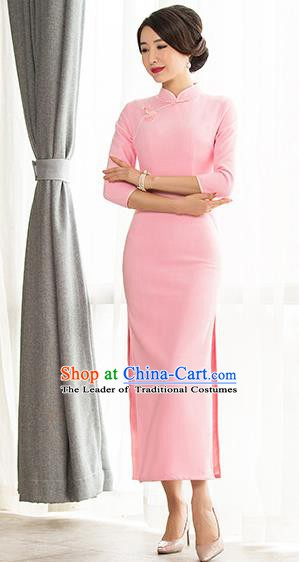 Chinese Traditional Tang Suit Pink Wool Qipao Dress National Costume Mandarin Cheongsam for Women