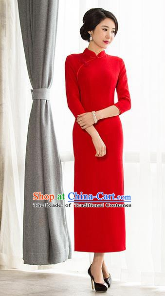 Chinese Traditional Tang Suit Red Wool Qipao Dress National Costume Mandarin Cheongsam for Women