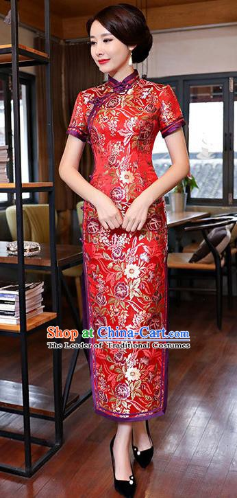 Chinese Traditional Tang Suit Red Brocade Qipao Dress National Costume Mandarin Cheongsam for Women