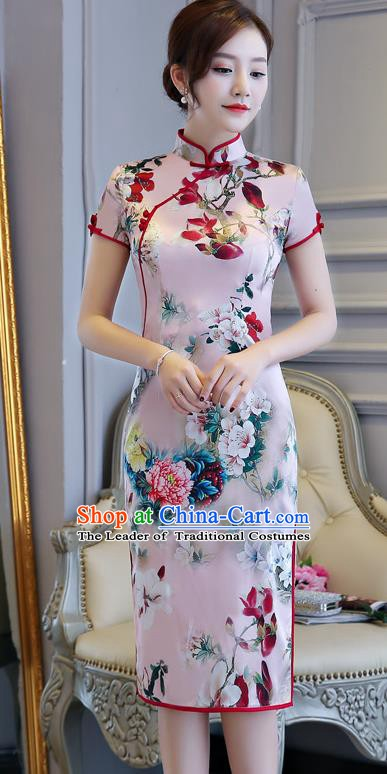 Chinese Traditional Tang Suit Pink Silk Qipao Dress National Costume Mandarin Cheongsam for Women