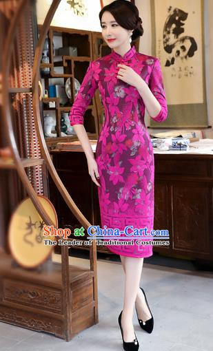 Chinese Traditional Tang Suit Wedding Qipao Dress National Costume Rosy Mandarin Cheongsam for Women