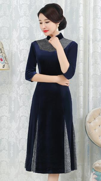 Chinese Traditional Tang Suit Navy Velvet Qipao Dress National Costume Top Grade Mandarin Cheongsam for Women