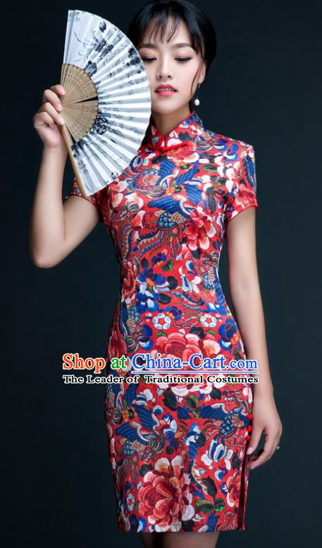 Chinese Traditional Tang Suit Qipao Dress National Costume Printing Short Mandarin Cheongsam for Women