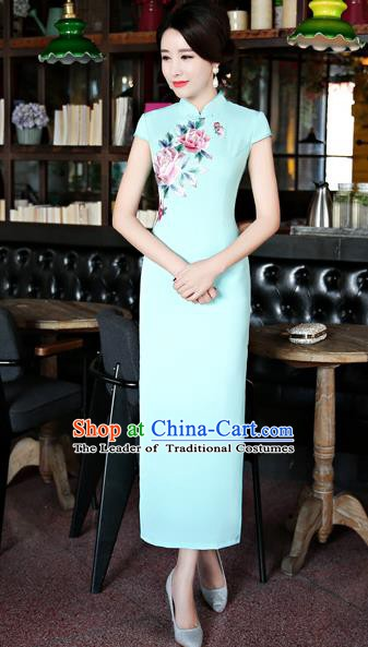 Chinese Traditional Tang Suit Embroidered Blue Qipao Dress National Costume Mandarin Cheongsam for Women