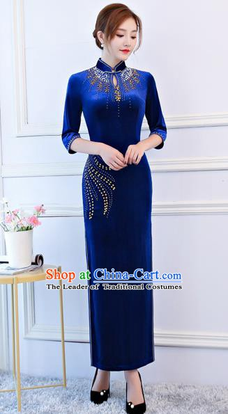 Top Grade Chinese Traditional Royalblue Velvet Qipao Dress National Costume Tang Suit Mandarin Cheongsam for Women