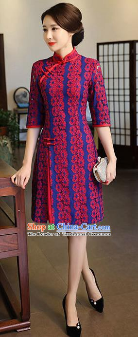 Top Grade Chinese Traditional Qipao Dress National Costume Tang Suit Rosy Lace Mandarin Cheongsam for Women