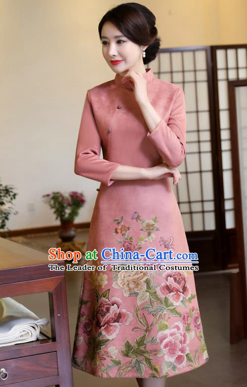 Top Grade Chinese Traditional Printing Qipao Dress National Costume Pink Suede Fabric Mandarin Cheongsam for Women