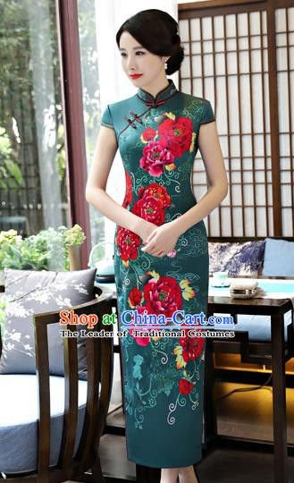 Top Grade Chinese Printing Green Silk Qipao Dress National Costume Traditional Mandarin Cheongsam for Women