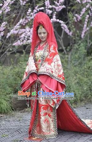 Chinese Ancient Tang Dynasty Princess Wedding Embroidered Replica Costume for Women