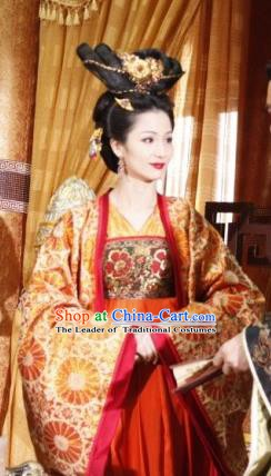 Chinese Ancient Queen Tang Dynasty Li Zhi Empress Wang Embroidered Hanfu Dress Replica Costume for Women