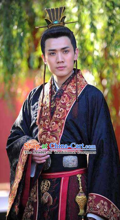Chinese Ancient Tang Dynasty Royal Highness Shou Li Mao Embroidered Replica Costume for Men
