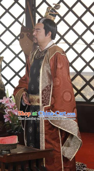 Chinese Ancient Sui Dynasty Royal Highness Li Zhenzong Embroidered Replica Costume for Men