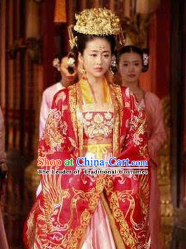 Chinese Ancient Tang Dynasty Princess Yifang Wedding Dress Embroidered Replica Costume for Women