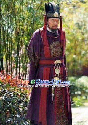 Chinese Ancient Tang Dynasty Prime Minister Zhangsun Wuji Replica Costume for Men