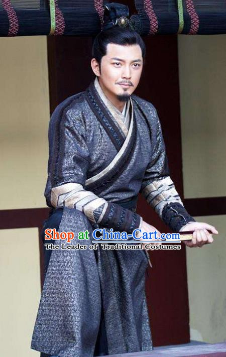 Chinese Ancient Tang Dynasty Minister Du Ruhui Replica Costume for Men