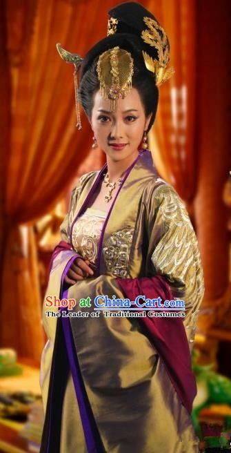 Chinese Ancient Tang Dynasty Empress Wei Hanfu Dress Embroidered Replica Costume for Women