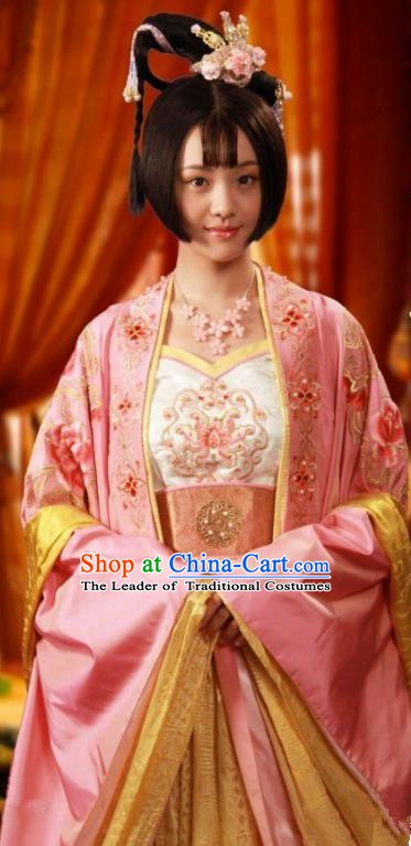 Chinese Ancient Tang Dynasty Palace Princess Taiping Dress Embroidered Replica Costume for Women