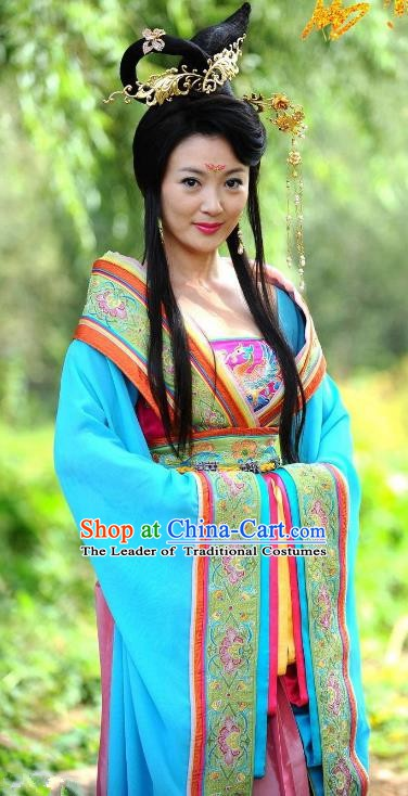 Chinese Ancient Tang Dynasty Imperial Consort Mei Dress Replica Costume for Women