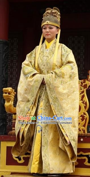 Ancient Chinese Tang Dynasty Queen Imperial Robe Empress Wu Zetian Embroidered Replica Costume for Women
