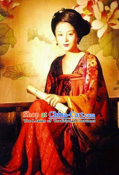 Traditional Chinese Ancient Tang Dynasty Palace Princess Taiping Embroidered Replica Costume for Women
