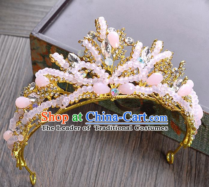 Handmade Bride Wedding Hair Accessories Pink Beads Royal Crown for Women