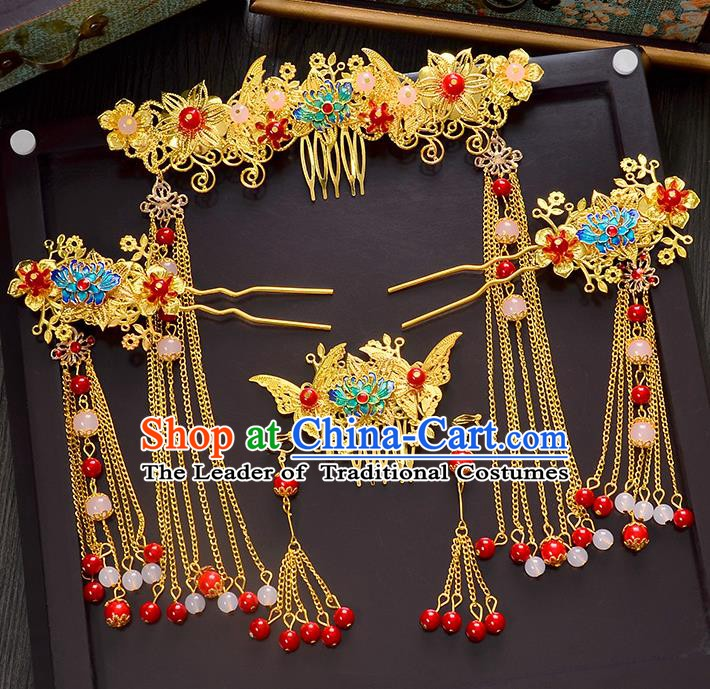 Traditional Chinese Ancient Bride Hair Accessories Xiuhe Suit Hairpins Lotus Phoenix Coronet for Women