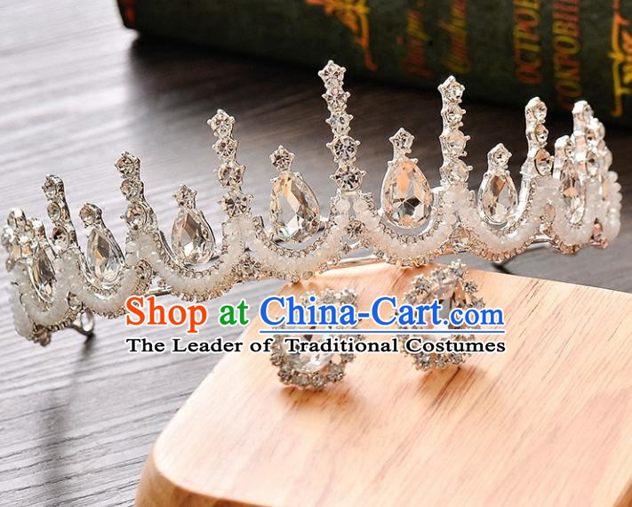 Handmade Bride Wedding Hair Accessories Baroque Crystal Royal Crown and Earrings for Women