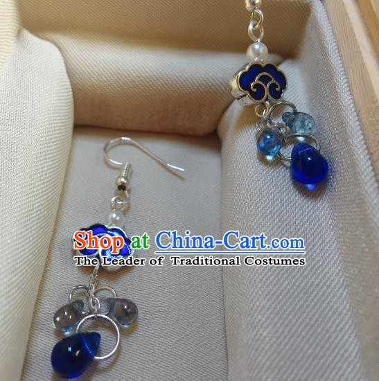 Traditional Chinese Ancient Jewelry Accessories Blueing Auspicious Clouds Earrings Eardrop for Women