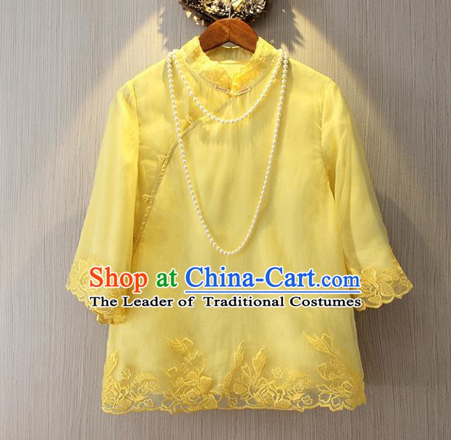 Chinese Traditional National Cheongsam Blouse Tangsuit Stand Collar Yellow Embroidered Shirts for Women