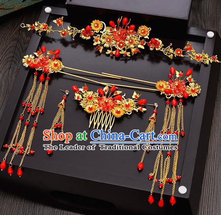 Traditional Chinese Ancient Bride Hair Accessories Xiuhe Suit Hairpins Tassel Step Shake Complete Set for Women