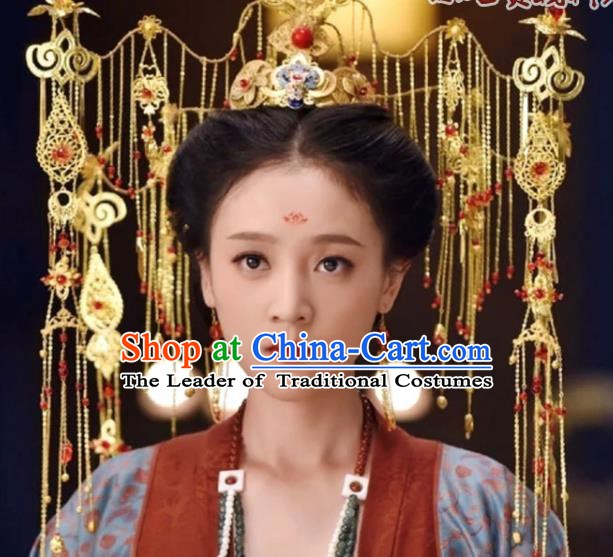Traditional Chinese Ancient Hair Accessories Hanfu Hairpins Tassel Phoenix Coronet for Women