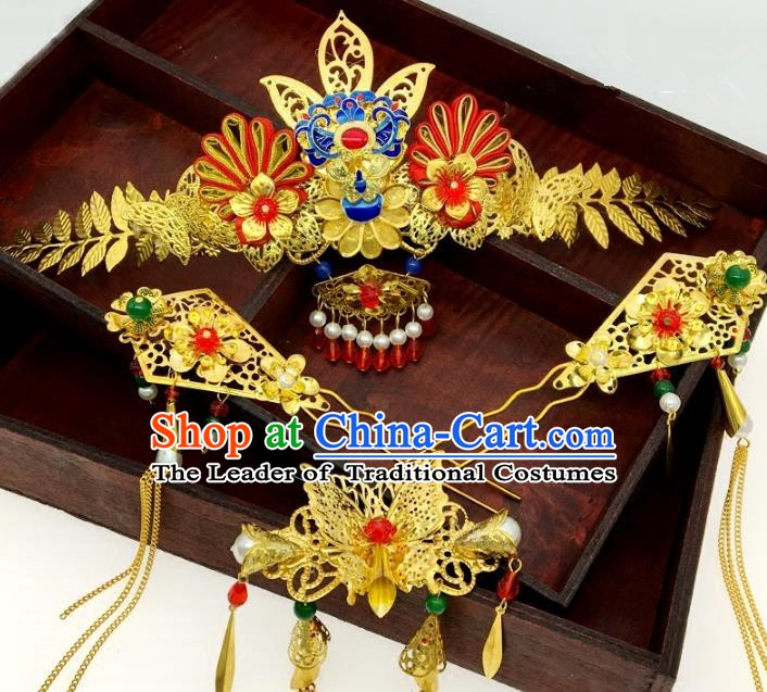 Traditional Chinese Ancient Wedding Hair Accessories Hairpins Phoenix Coronet Complete Set for Women