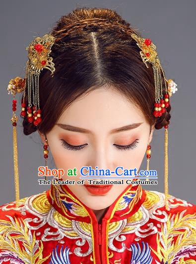 Traditional Chinese Ancient Bride Hair Accessories Xiuhe Suit Hairpins and Earrings for Women