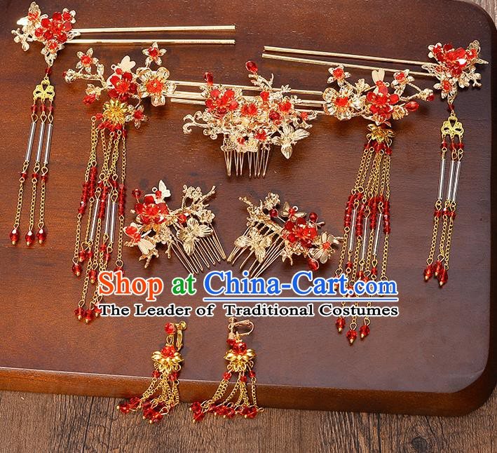 Traditional Chinese Ancient Bride Hair Accessories Xiuhe Suit Red Tassel Hairpins Complete Set for Women
