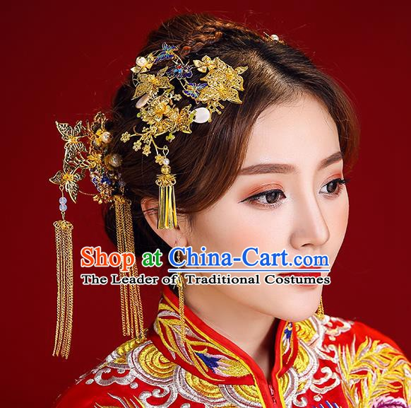 Traditional Chinese Ancient Bride Hair Accessories Xiuhe Suit Blueing Hairpins Complete Set for Women