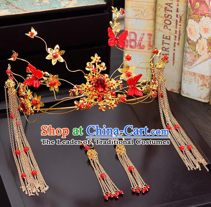 Traditional Chinese Ancient Bride Hair Accessories Xiuhe Suit Wedding Red Butterfly Phoenix Coronet Hairpins for Women