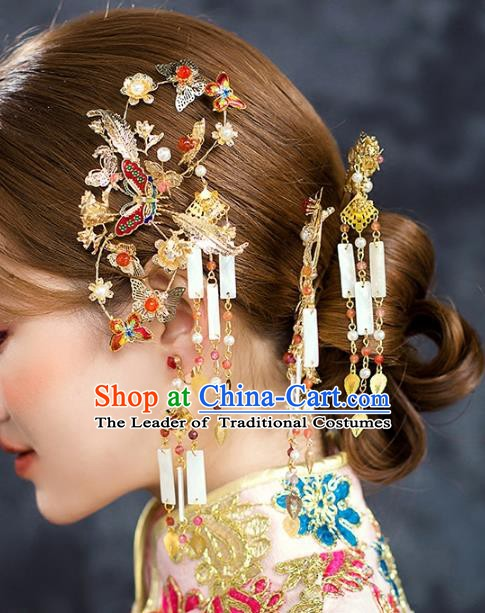 Traditional Chinese Ancient Bride Hair Accessories Xiuhe Suit Butterfly Hairpins Complete Set for Women