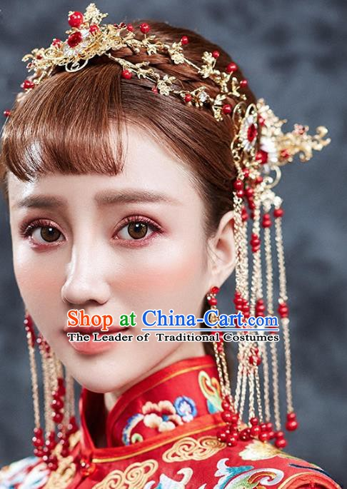 Traditional Chinese Ancient Bride Hair Accessories Xiuhe Suit Hair Clasp Hairpins Complete Set for Women