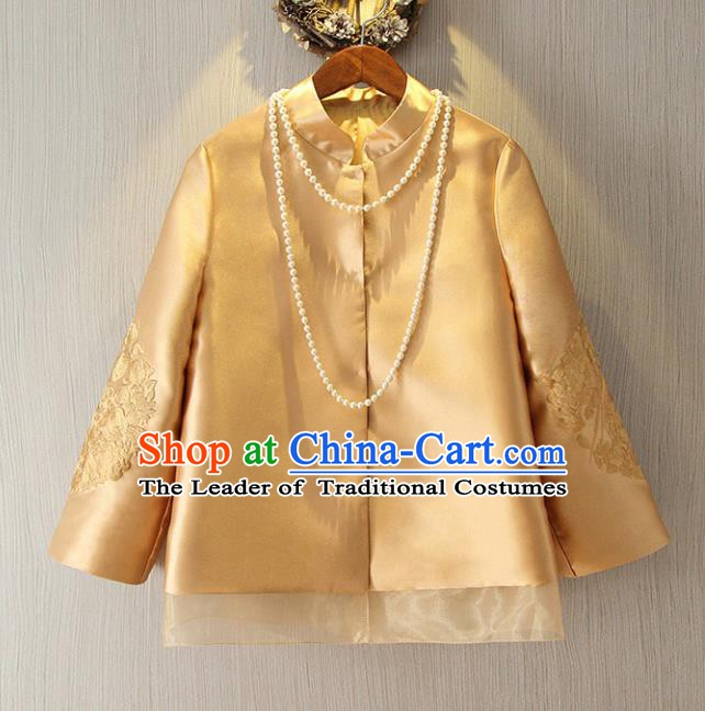 Chinese Traditional National Cheongsam Coat Tangsuit Stand Collar Embroidered Jacket for Women
