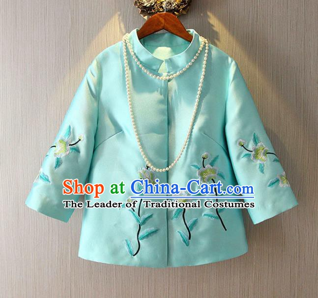 Chinese Traditional National Blue Cheongsam Jacket Tangsuit Embroidered Coats for Women