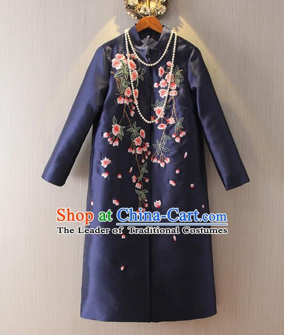 Chinese Traditional National Dust Coat Tangsuit Embroidered Navy Coats for Women